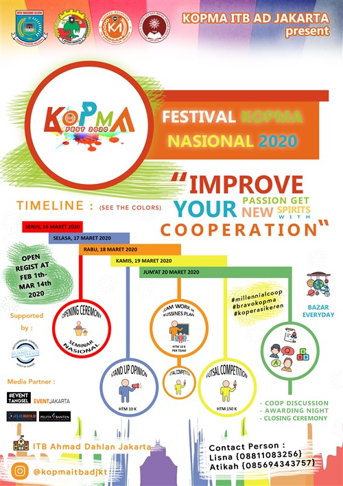 "Festival KOPMA NASIONAL 2020 ""Improve Your Passion Get New Spirits with Cooperation"""